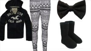 Hollister hoodie, Aztec leggings, Lace Bow, Ugg boots.