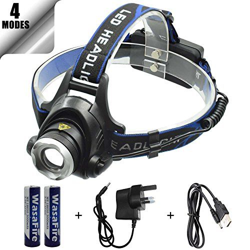 Wasafire Head Torch 2000 Lumen Zoomable LED Headlamp 4 Modes Rechargeable LED