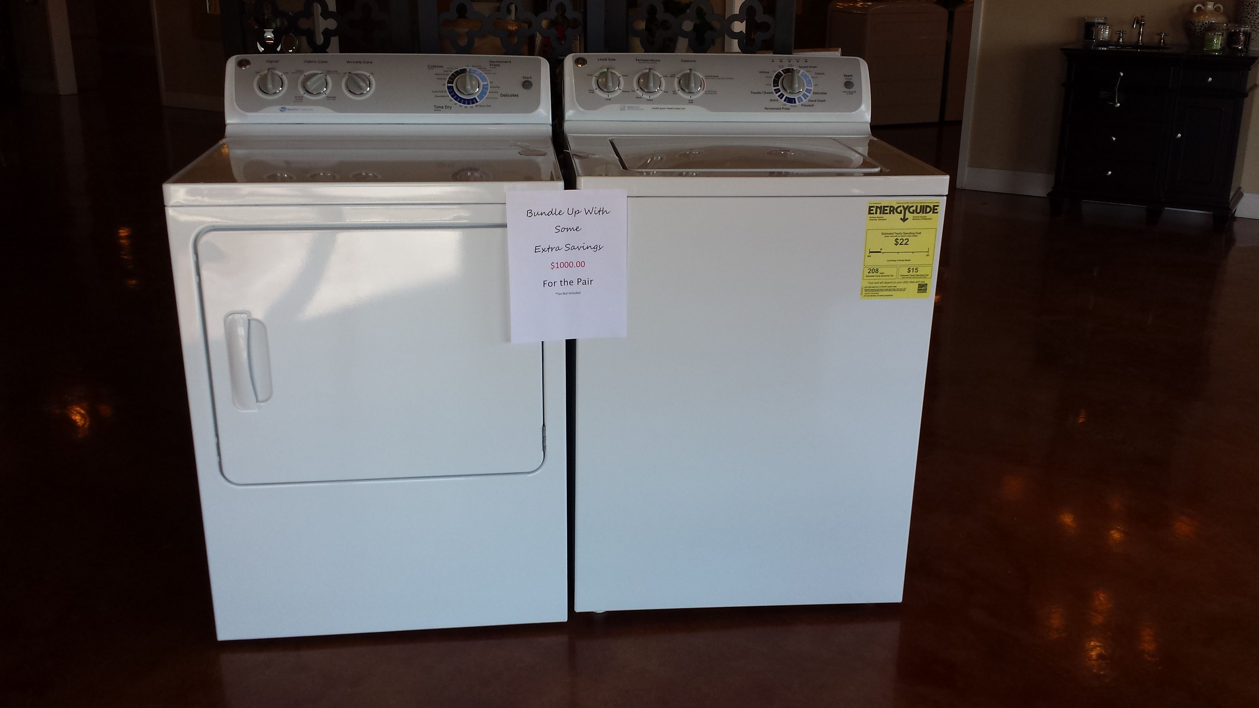 Ge washerdryer pair on sale now in our showroom