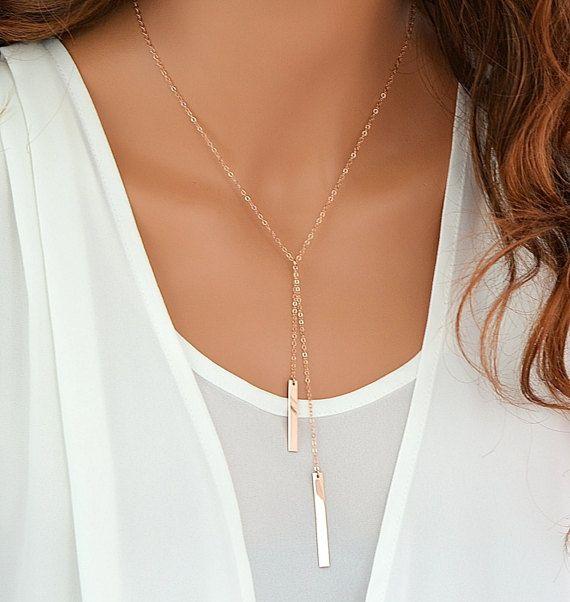 Gold Bar Lariat Necklace Drop Bar Pendant Necklace Simple Gold Y Necklace Gold Bar Necklace Minimalist Bar Necklace