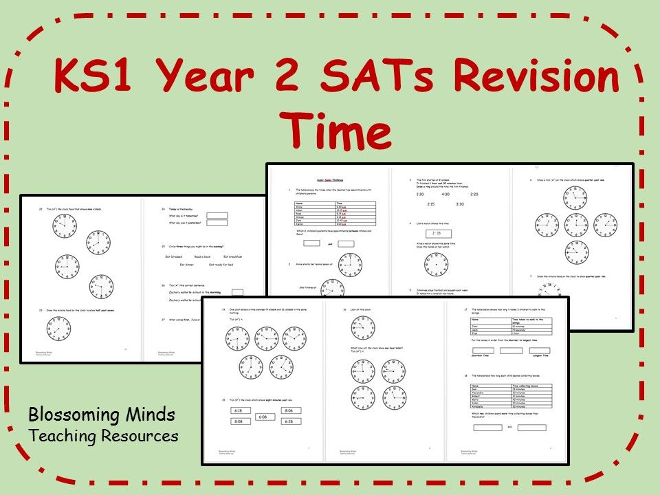 KS1 Year 2 Maths SATs - Time Revision - Differentiated Levels ...