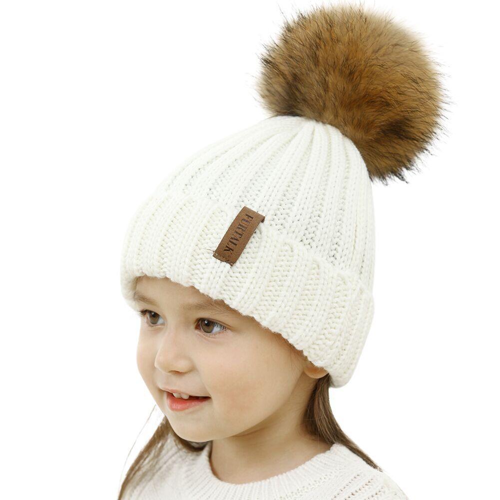 331981d03e0 FURTALK Unisex Parent Child Hat Warmer Kids Girls Boys Beanie Bubble Fur  Pom Pom Hat Winter
