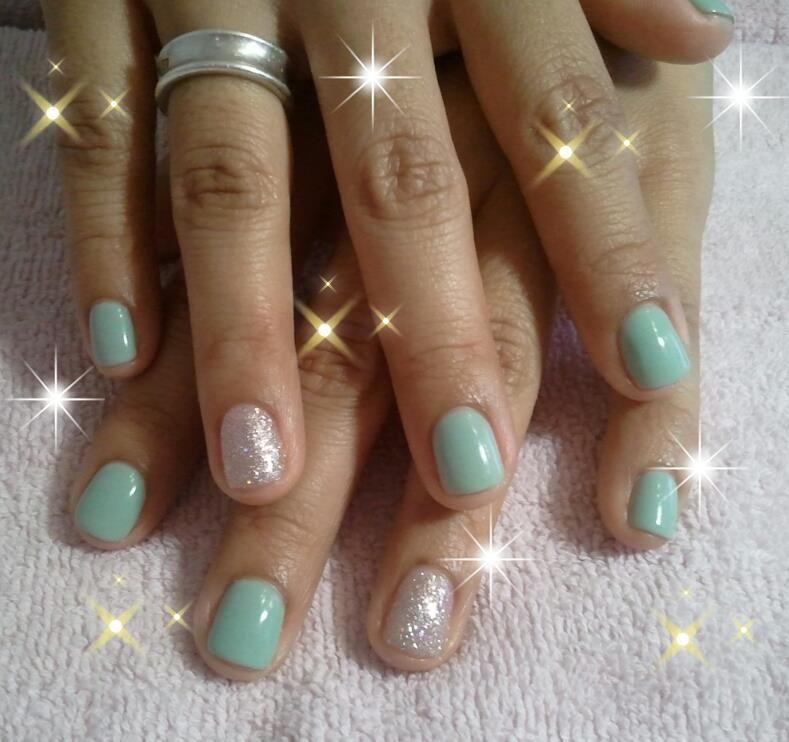 """seafoam green"" gelish nails"