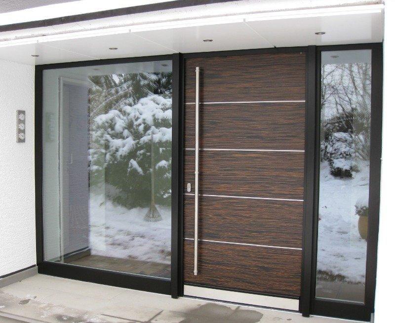 Belle porte d 39 entr e moderne design brun maison http www m - Porte d entree moderne ...