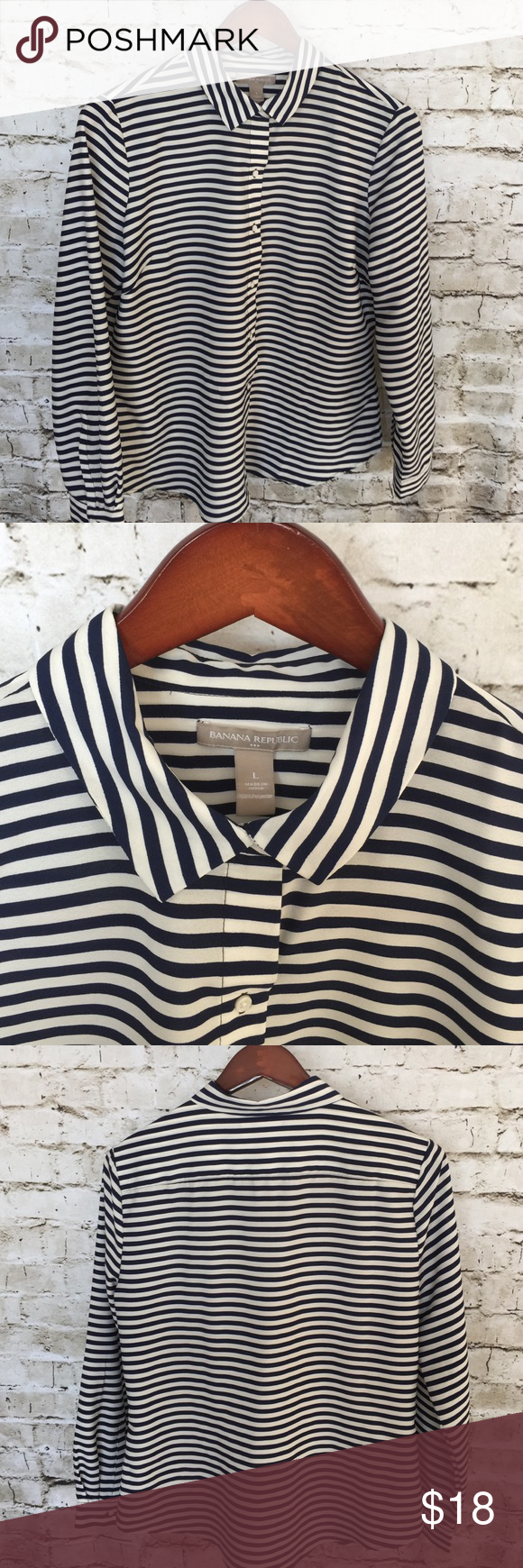 Banana Republic Factory Blouse Size L Banana Republic Factory Blouse Size L. Crisp navy and white stripes. 100% Poly. Dry clean only. Gentle bust darts for a flattering fit. Banana Republic Tops Button Down Shirts