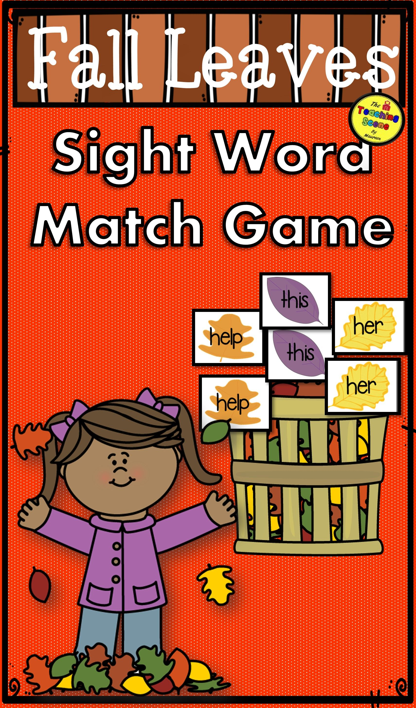 Fall Leaves Sight Word Match Game