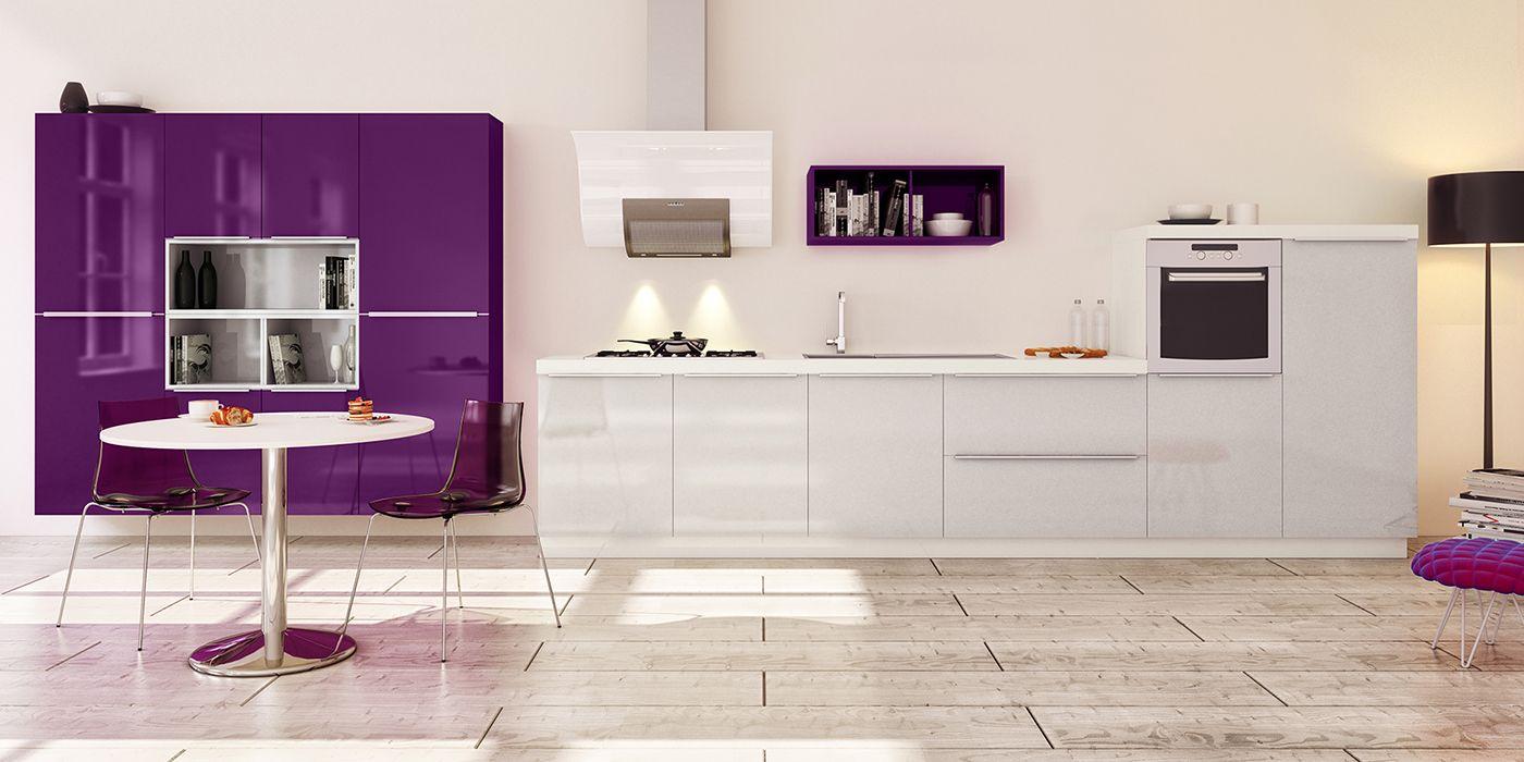 Cuisine design coloris gris et violet cuisines you mod le lacanau cuisines ouvertes - Cuisine lineaire design ...