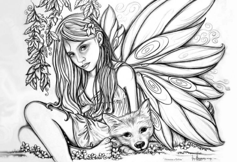 Realistic Fairy coloring pages for adults | Fairy coloring pages ...