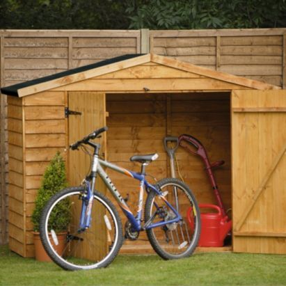 Blooma 7x3 Overlap Wooden Bin And Bike Shed With Plastic Roof Home Delivered 5397007051681 160 Outdoor Bike Storage Bicycle Storage Bike Storage Diy