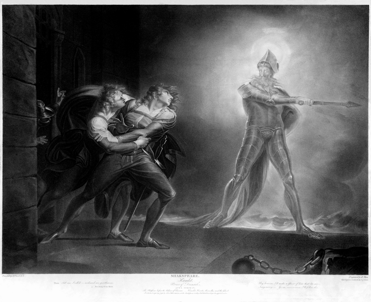 hamlet and the ghost by henry fuseli illustration  hamlet and the ghost by henry fuseli 1789