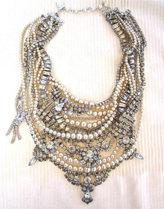 chunky rhinestone necklace pearl bib statement necklace bridal rhinestone pearl tom binns inspired vintage wedding