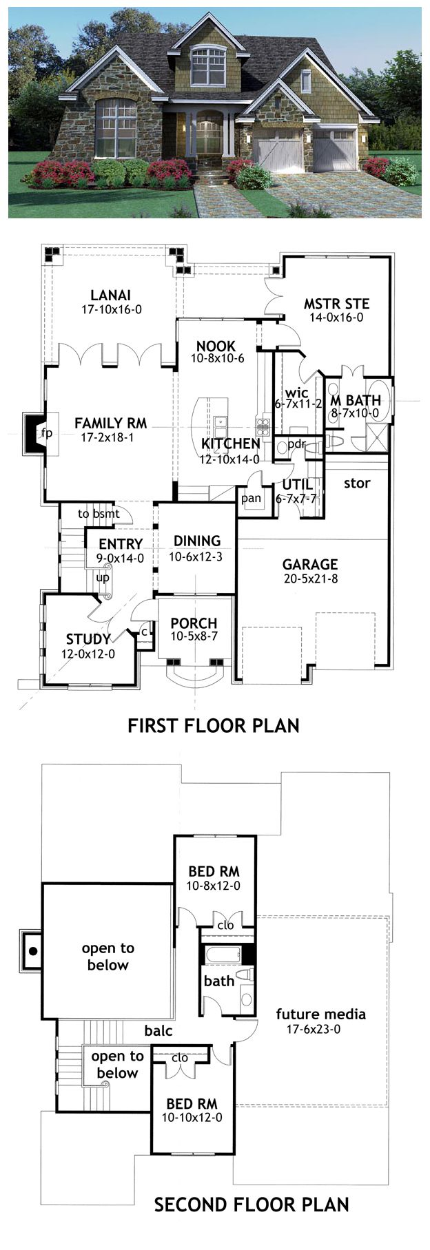 #BestSelling #HousePlan 65868 has 2143 sq ft of living space, 3 bedrooms and 2.5 bathrooms. Main floor: study, dining room, kitchen, nook, family room, utility room and master suite. Upstairs: 2 bedrooms and bathroom