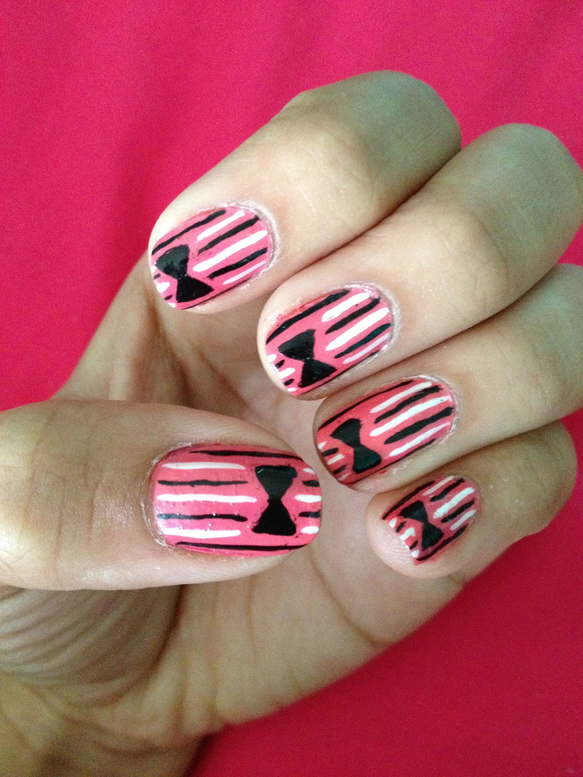 Classy Bow Tie Nail Art Easy To Create Using A Small Nail Art