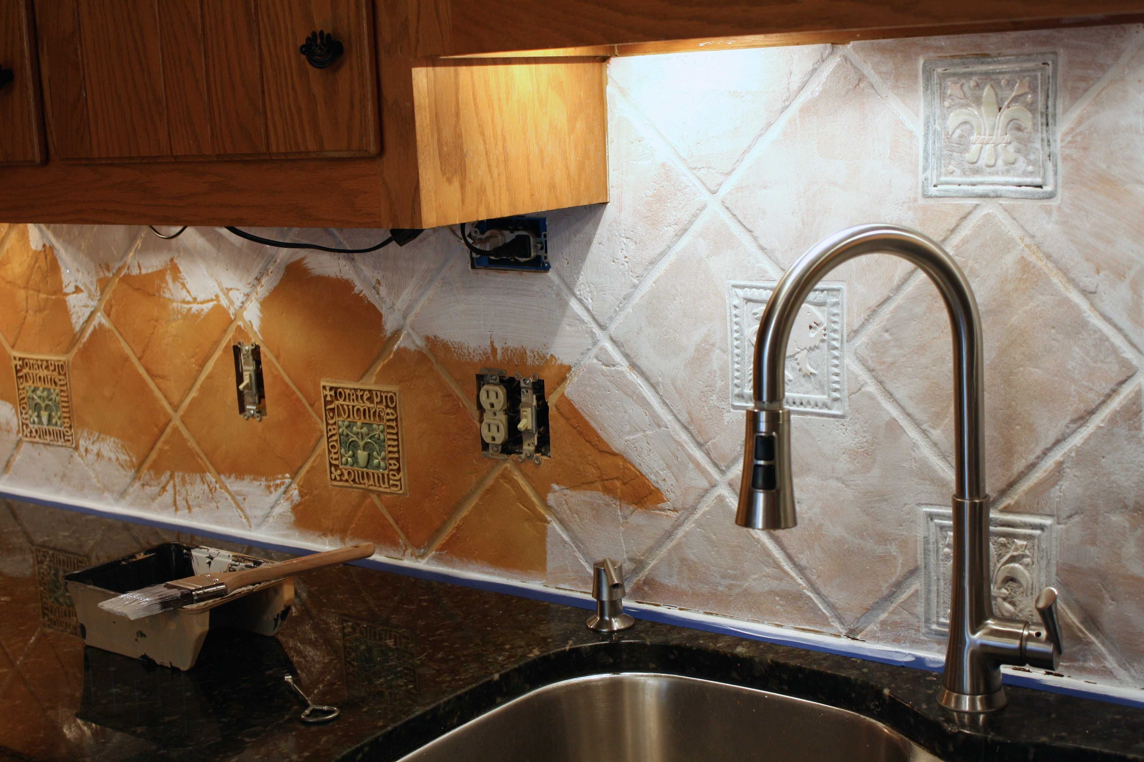 How To Paint A Tile Backsplash: My Budget Solution ...