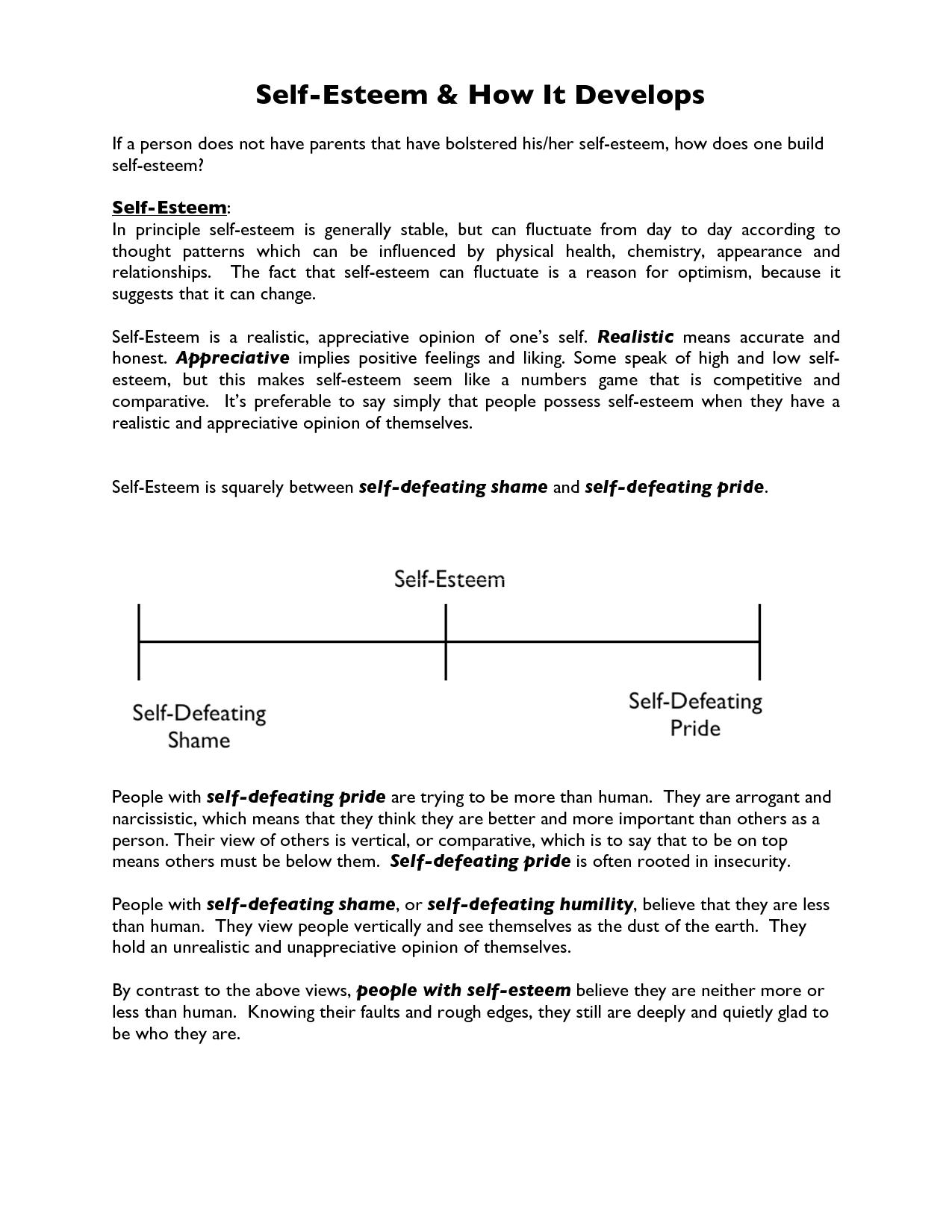 Self Esteem Worksheet