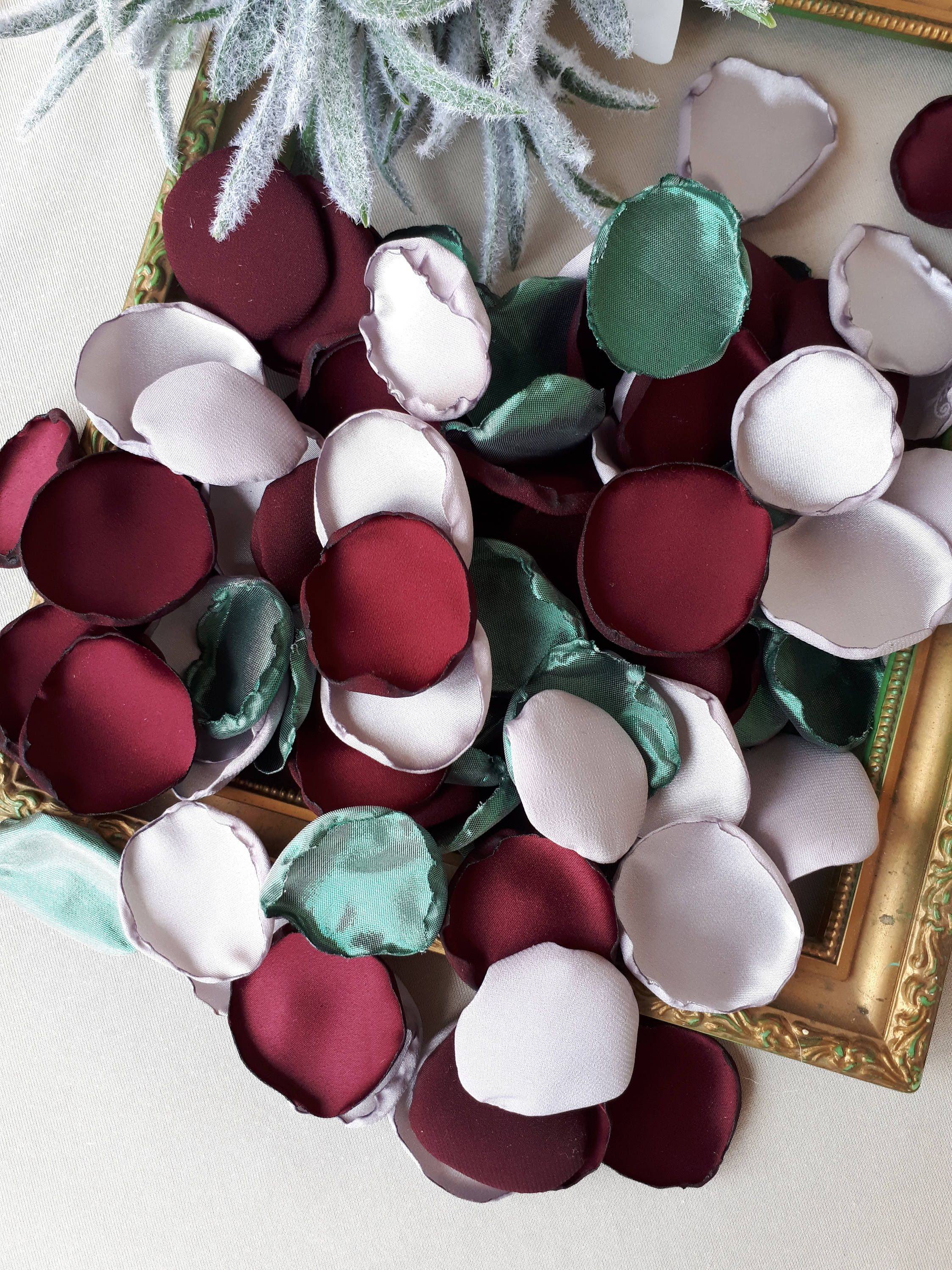 Burgundy Gray Satin Green Rose Petals Winter Wedding Christmas Party Decor Burgundy And Silver Table Deco Elegant Party Supplies Petals Christmas Party Decorations Winter Wedding