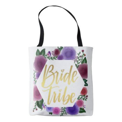 Shiny Gold Bride Tribe (floral hexagon) Tote Bag - bride to be gifts bridal wedding ideas cyo diy