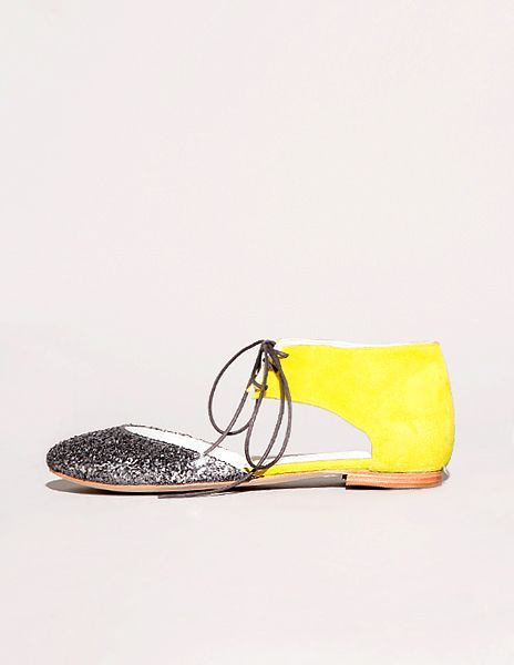 glitter and neon lace up flats