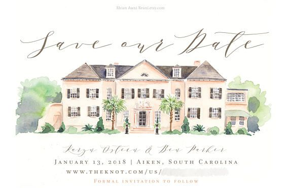 Wedding Invite And Map Design Watercolor Venue Illustration