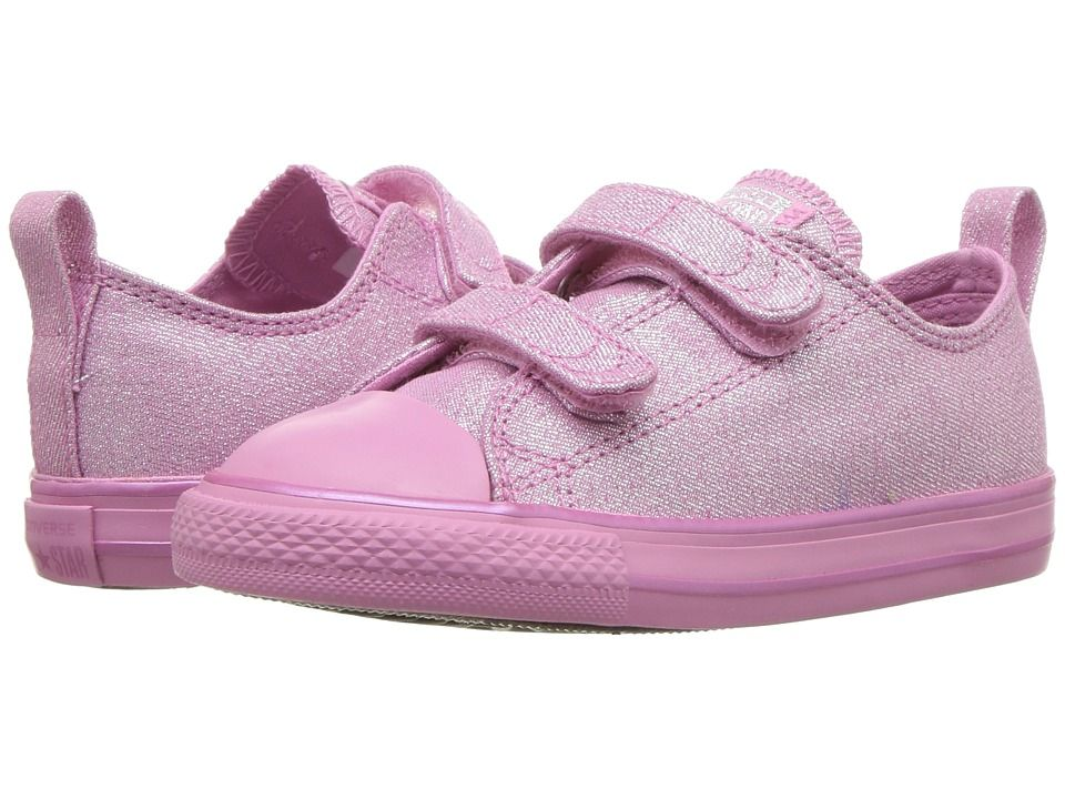 82ce64b14959 Converse Kids Chuck Taylor All Star 2V - Mono Shine Ox (Infant Toddler)  Girls Shoes Light Orchid Light Orchid Silver