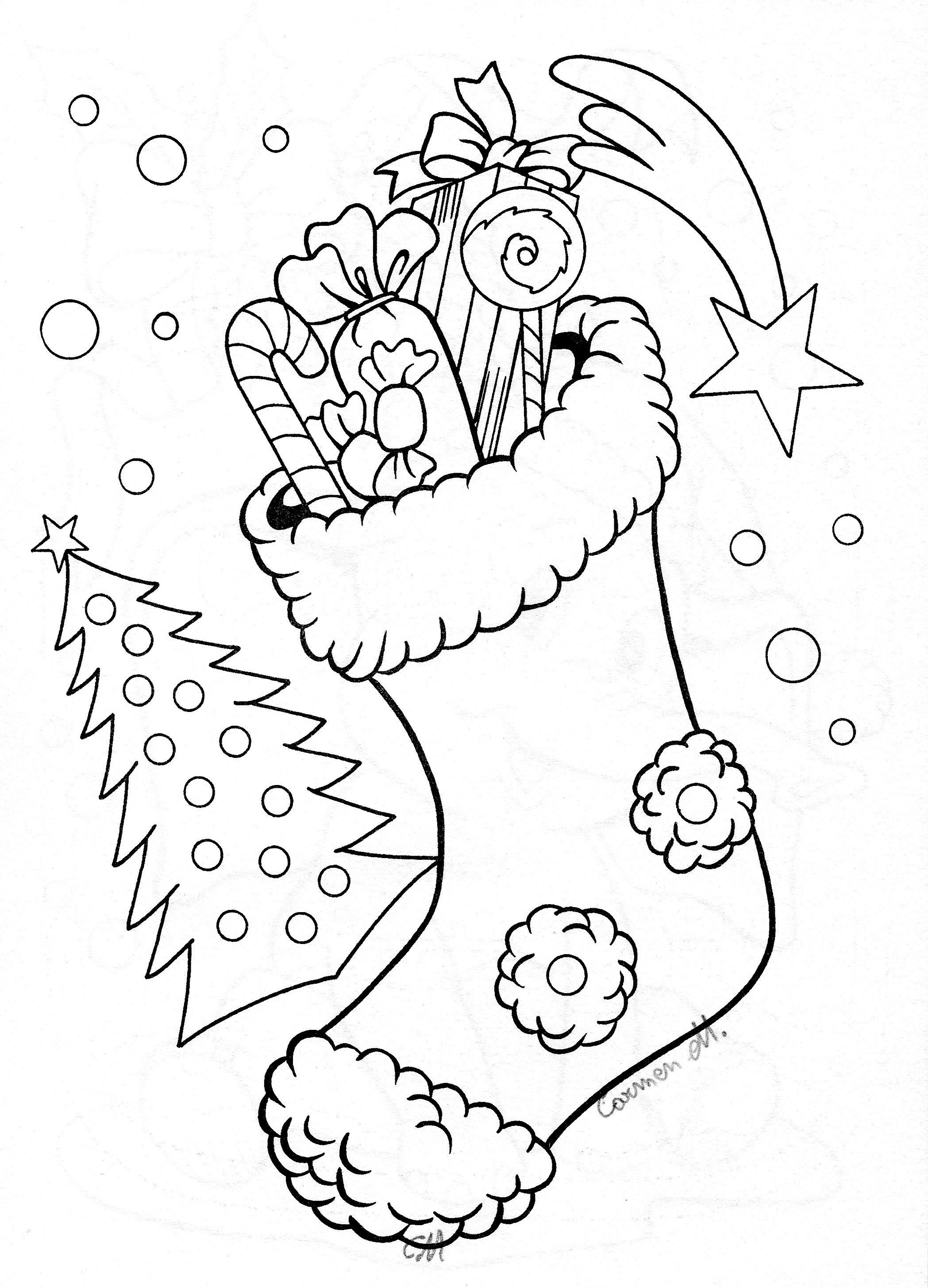Christmas Sock Coloring Books Coloring Pages Clipart Black And White