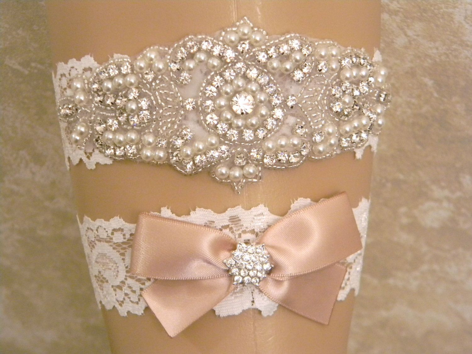 Wedding Garter in Champagne and Ivory Lace Toss Garter