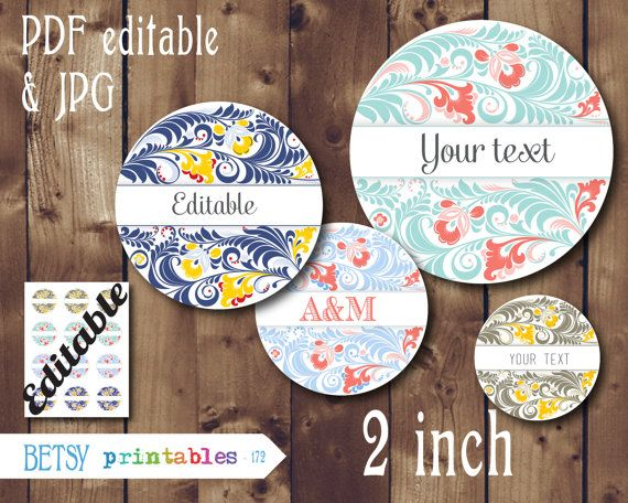 Editable 2 inch images -   Editable PDF and JPG circles - Instant Download - 172