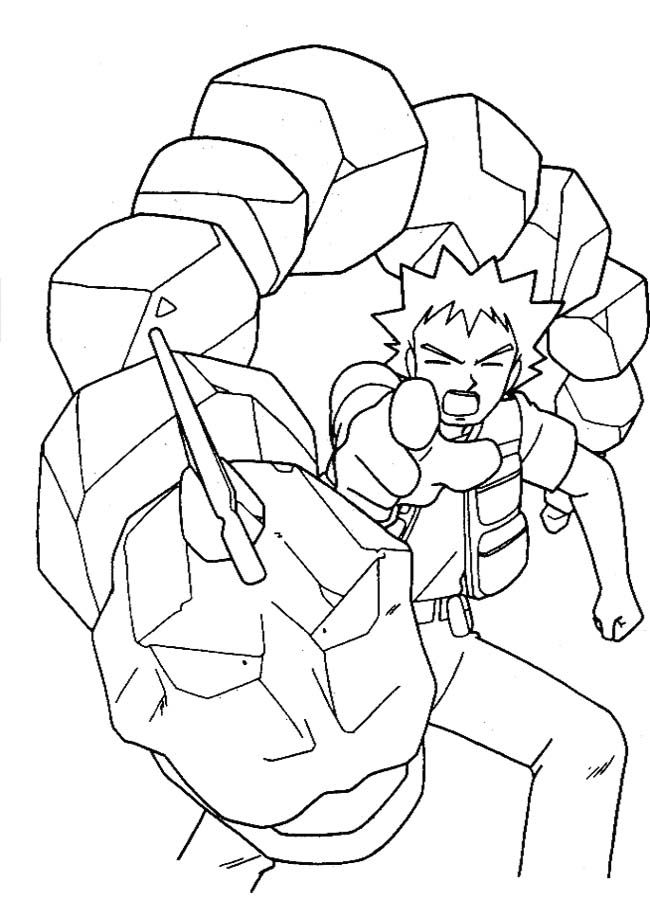 brock and pokemon ready figh coloring page