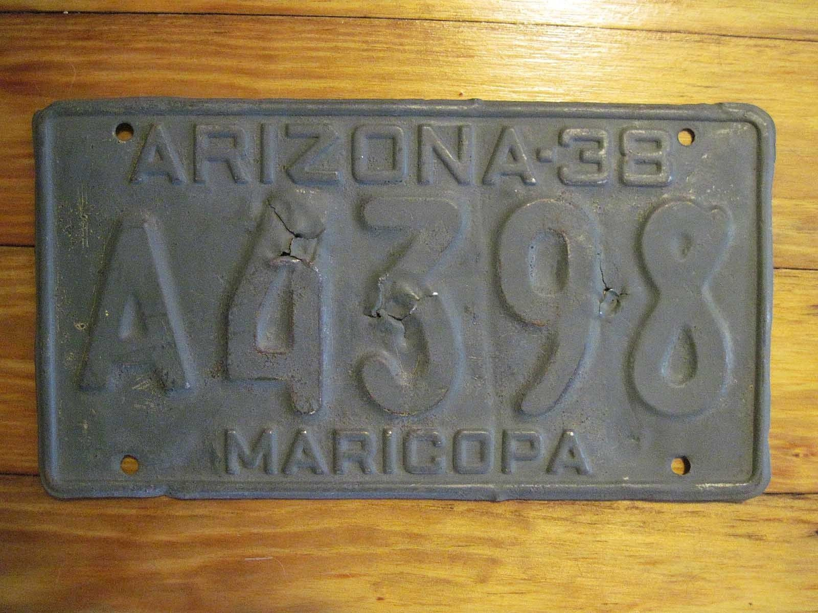An Arizona 1938 Maricopa County License Plate DMV Clear Old West Automotive Antique & An Arizona 1938 Maricopa County License Plate DMV Clear Old West ...