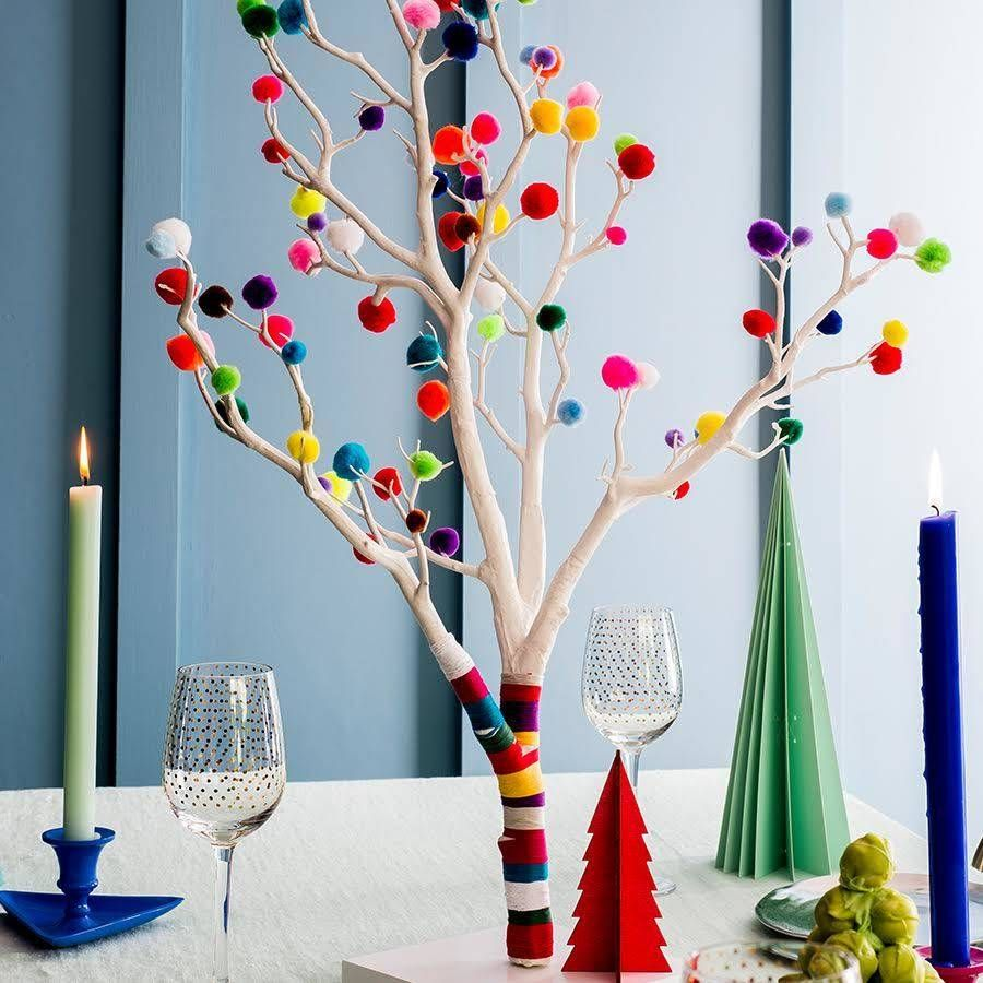 Pom Pom Christmas Tree | Traditional christmas tree, Pink yellow ...