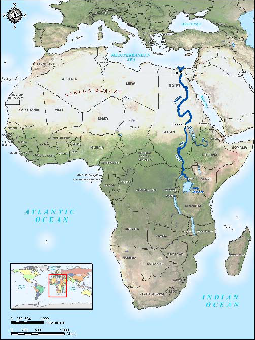 Nile River Africa Map The Nile River travels through 10 countries in Africa, including