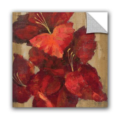 "ArtWall Silvia Vassileva Vivid Red Gladiola on Gold Crop Wall Mural Size: 14"" H x 14"" W x 0.1"" D"