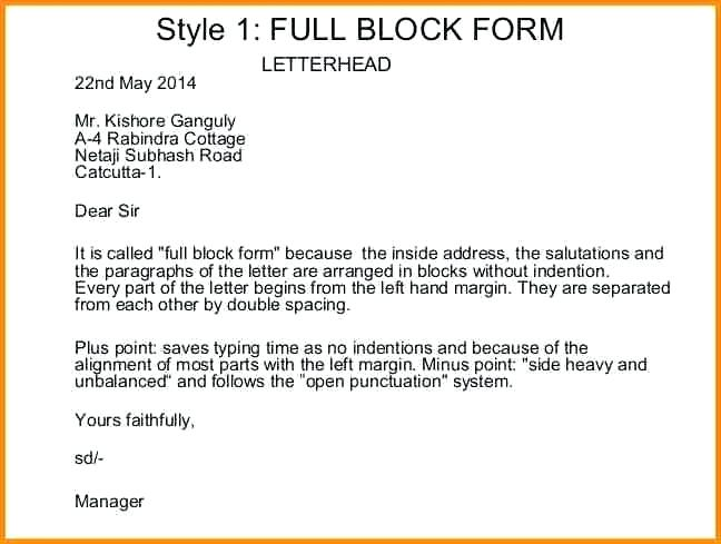 Full Block Style Business Letter Example 4 reinadela