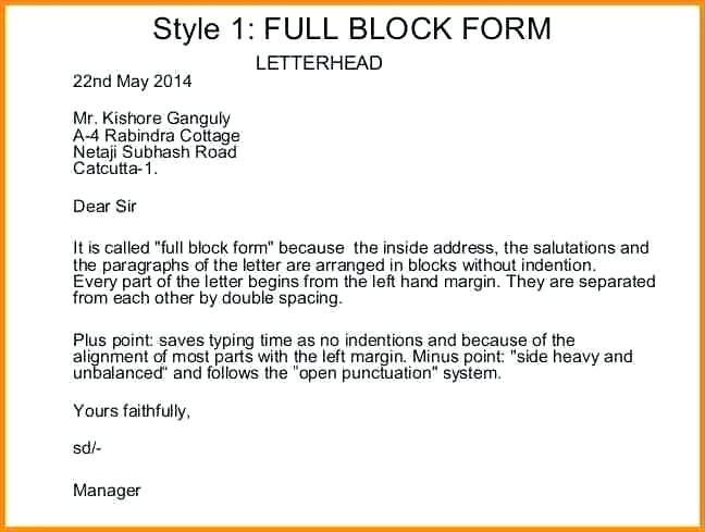 Full Block Style Busines Letter Example 4 Reinadela Selva Lettering Template Free Format Essay