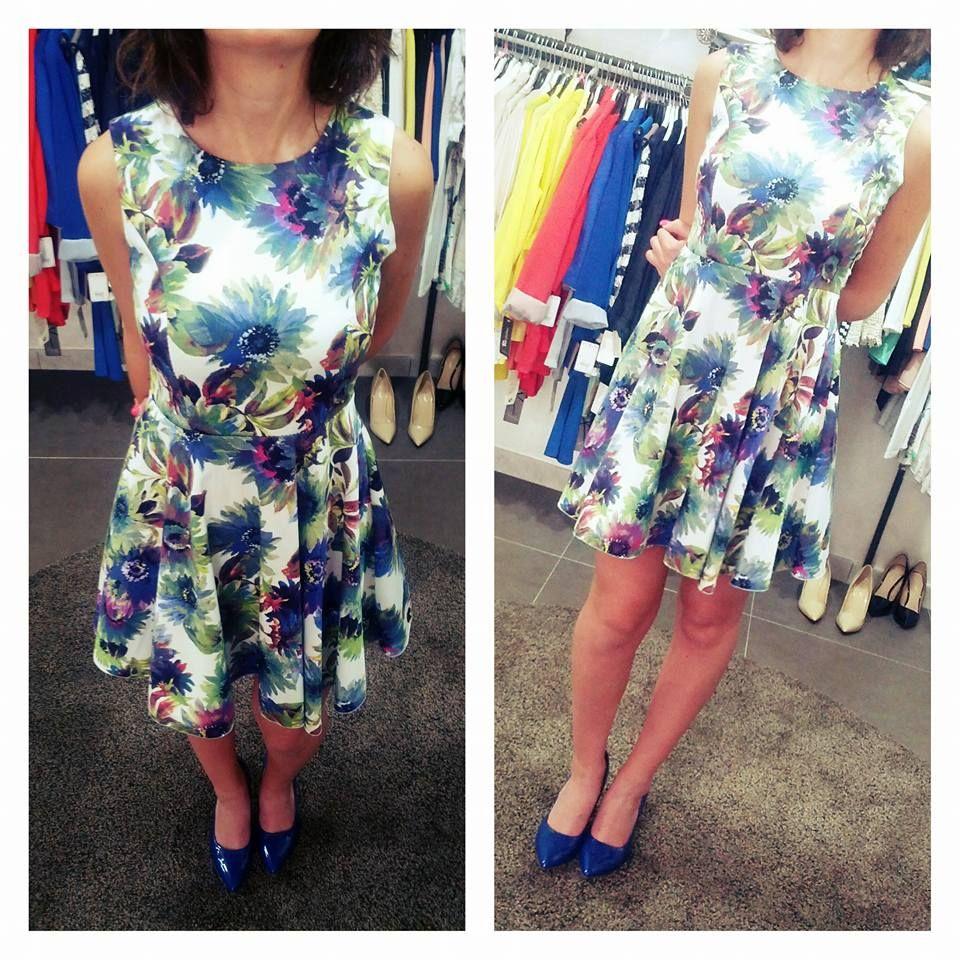 on sale 080b4 c78b7 abito bianco blu fiori | Dress | Abiti bianchi, Abiti e Blu