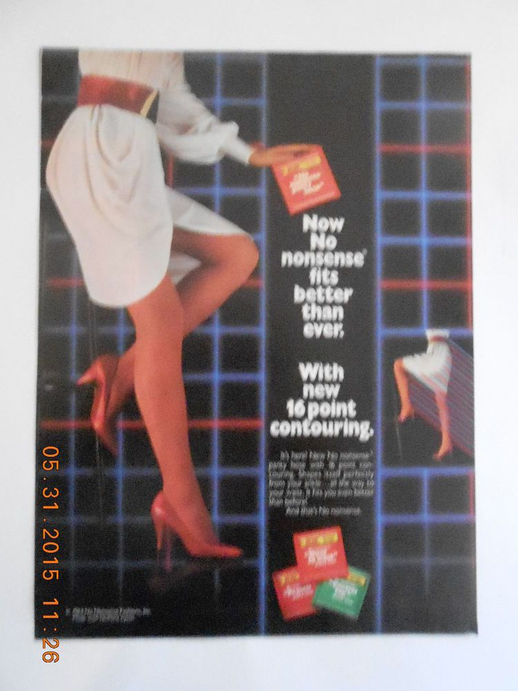 1984 No Nonsense pantyhose hosiery color AD long sexy legs stockings nylons