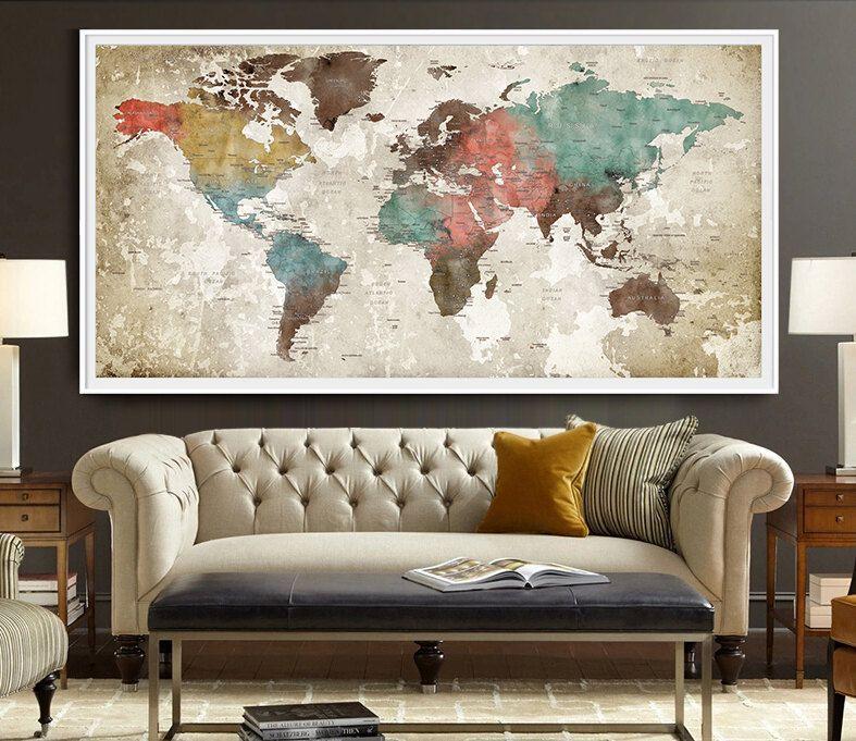Large Framed World Map World map poster Watercolor World map Art Print Art | World map