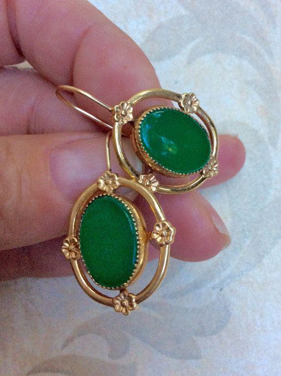 Vintage Jade Gold Earrings Fabulous Genuine By Damselindistressnj