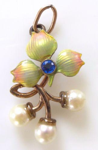 Victorian Gold Gilt Enamel Genuine Pearl Flower Pendant