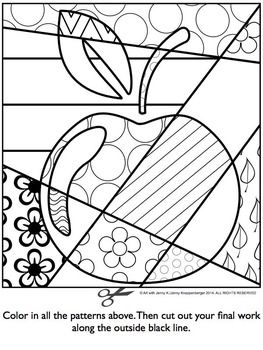 apple pop art coloring page pdf ms - Blank Coloring Sheets
