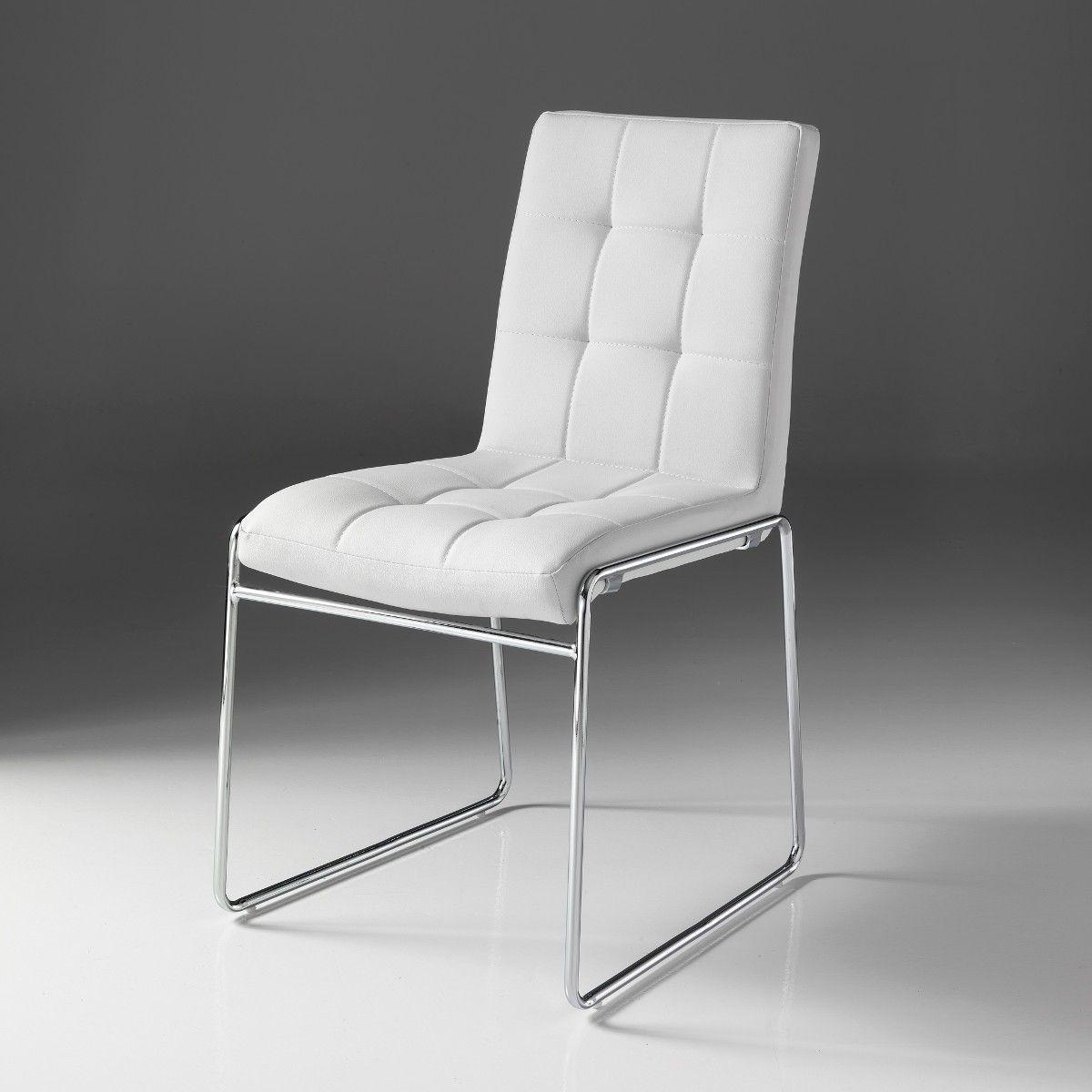 Coppia sedie in metallo ed ecopelle bianca Starring | Sedie