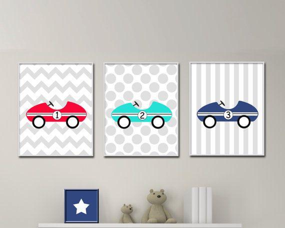 Baby Boy Nursery Art Prints Retro Car Wall By Hopandpop