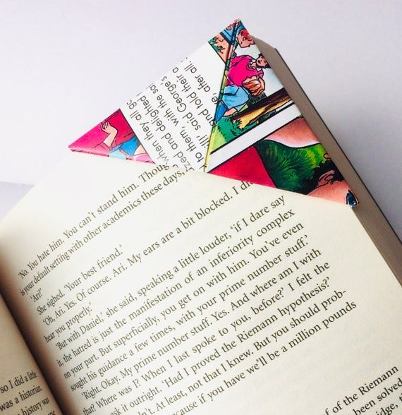 Photo of Quirky Book Gift, Set of 4 Page Corners made from Famous Five Annuals, Re-purposed Paper, Origami Bo