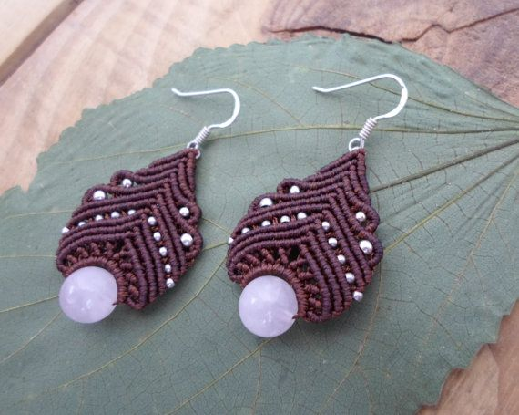 Rose Quartz macrame earrings micro macrame by SelinofosArt on Etsy