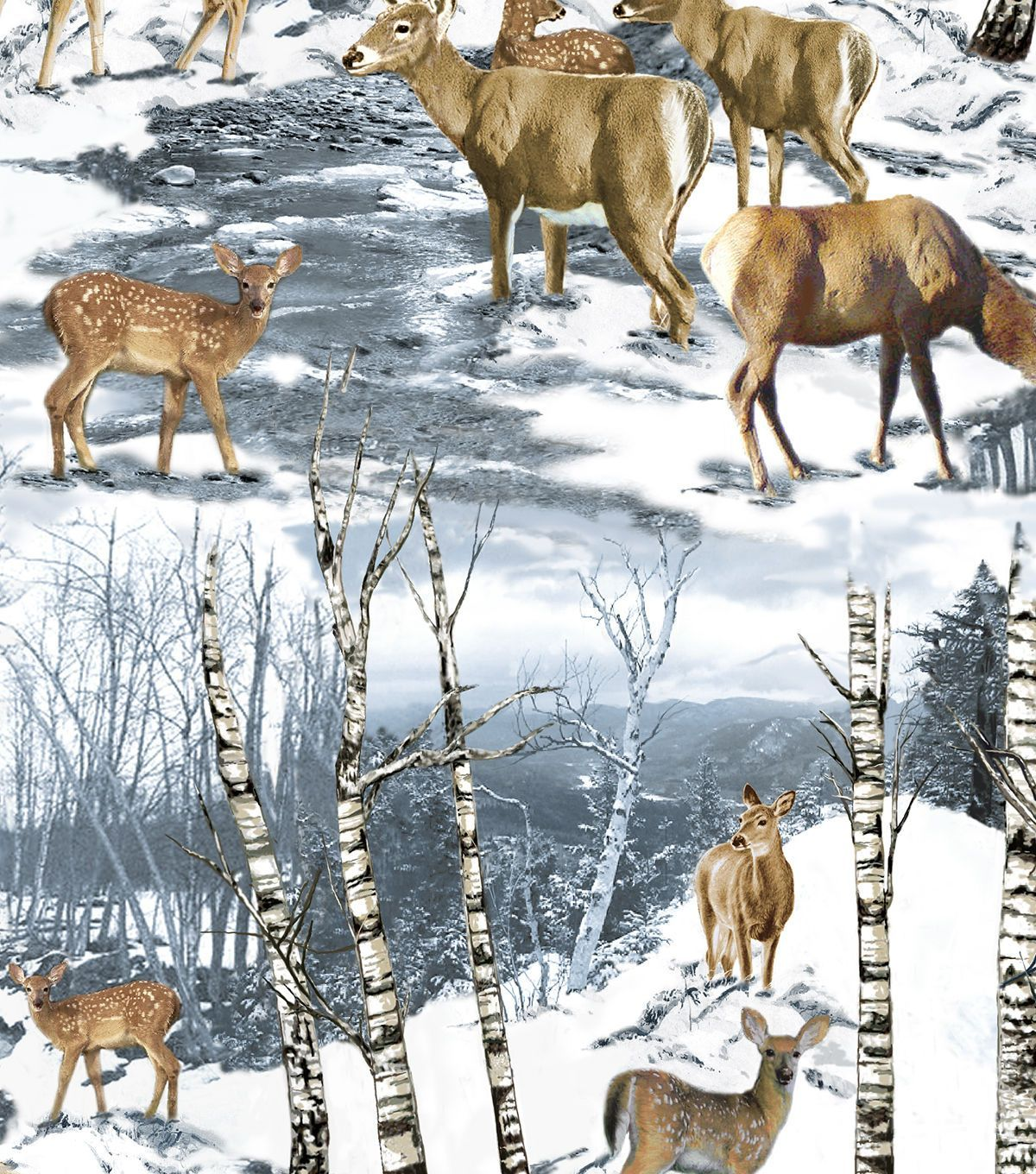 Snuggle Flannel Fabric-Wintertime Deer