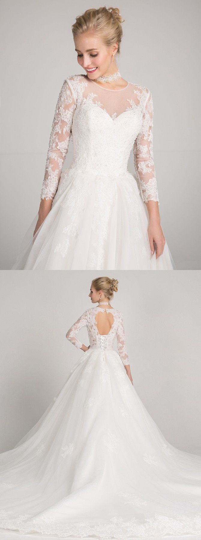 Elegant open back wedding gowns with appliques train chic long