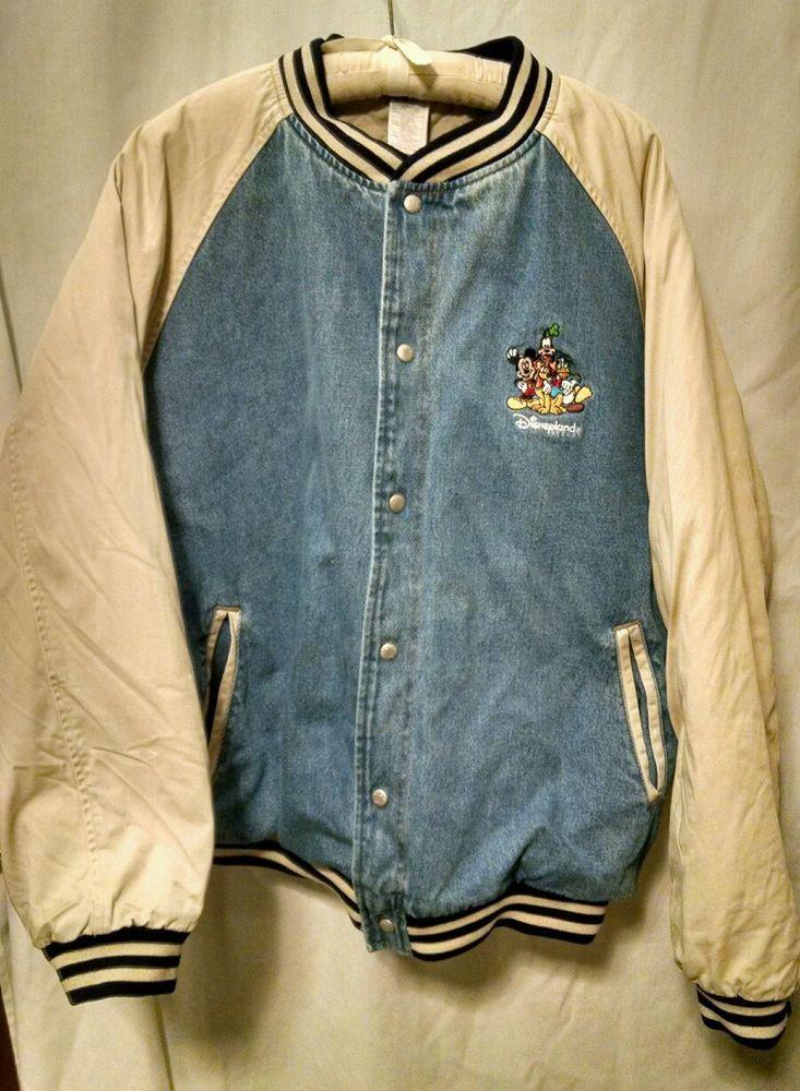 Disneyland Resort Mickey Mouse Friends Denim Varsity Jacket Coat 2xl