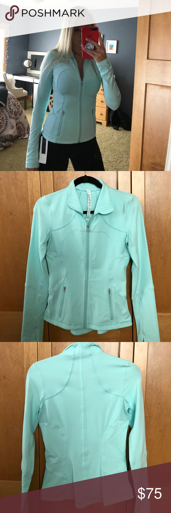 Lululemon define jacket New define jacket. Worn once. Sold out color, no longer made anymore. Size 4 & in perfect condition. I would describe the color as a mint blue. lululemon athletica Tops Sweatshirts & Hoodies