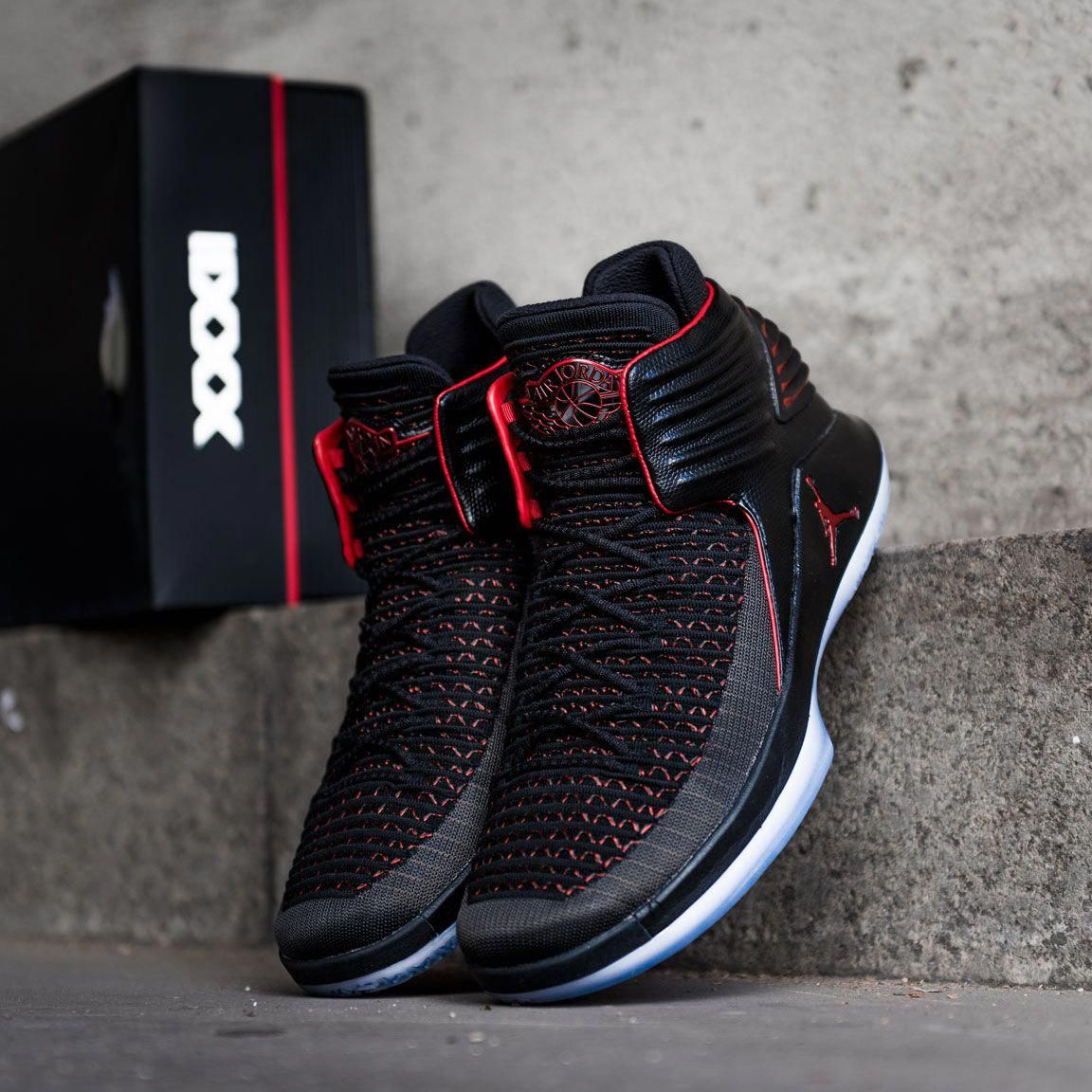 online store d242a eb086 The best basketball shoe right now  Possibly. The Air Jordan XXXII in  black university red colorway. Now available at KICKZ.com   adidasbasketballshoes