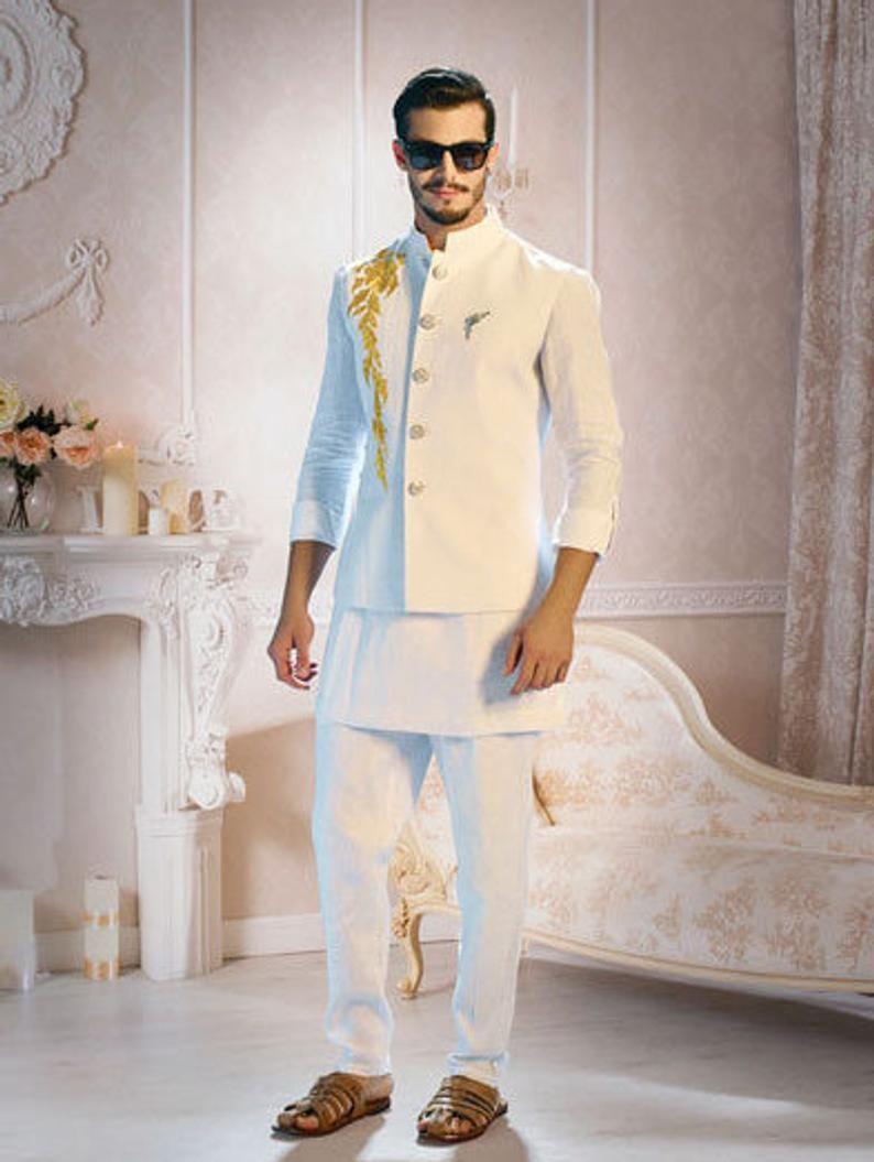 Linen Kurta Pajama With Handcrafted Work Jacket Linen Partywear Waist Coat With Kurta Pajama For Ceremonial Wear Wedding Dresses Men Indian Wedding Kurta For Men Man Dress Design,Gaelic Celtic Style Wedding Dresses